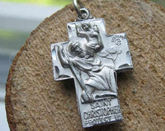 Vintage Sterling Silver Catholic Saint Christopher Jesus Mary and Joseph Charm Pendant Mens or Womens