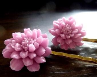 EMINENCE - Purple Mums Flower Resin Gold Bobby Pins