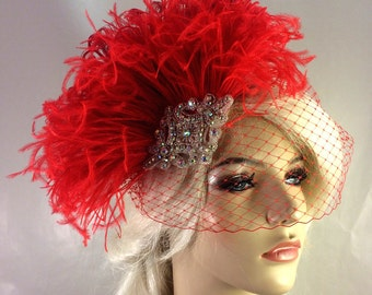 Red Bridal Fascinator, Silver Beaded A/B Rhinestone Center, Feather Fascinator, Bridal Veil, Wedding Veil, Hair Clip