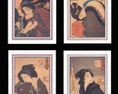 4 Blank Note Cards of Japanese Bijin by Yoshitoshi gccs022