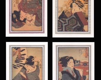 4 Blank Note Cards of Ukiyo-e Bijin by Yoshitoshi gccs018