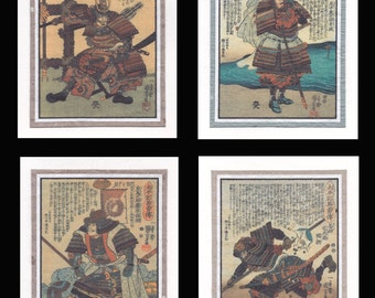 4 Blank Note Cards of Samurai by Kuniyoshi gcds001