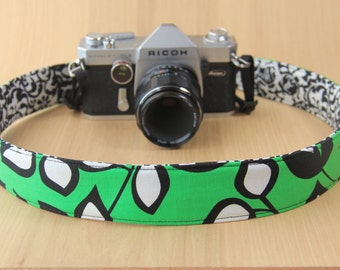 Camera Strap for DSLR - Crossbody, Reversible, Quick Release - Green with Leaves - Ready to Ship