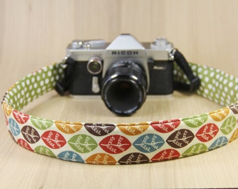 DSLR Camera Strap - Crossbody, Reversible, Quick Release - Colorful Leaves - Ready to Ship
