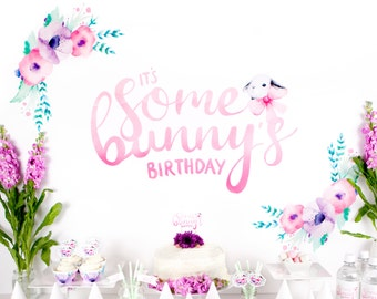 """Party Backdrop - """"It's Some Bunny's Birthday"""" Printable Bunny Backdrop for Girl Turning One - Cake Smash Watercolour Backdrop"""