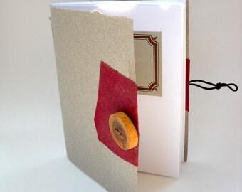 Boho Notebook, Rustic Notebook, Cherry Wood Button Notebook, Softcover Notebook
