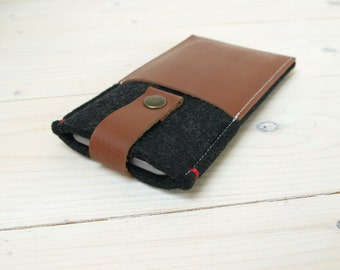 IPHONE 6/SE WALLET case - felt leather - black - pocket cover