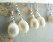 Baroque Pearl Jewelry, 9mm White Cultured Freshwater Baroque Shaped Pearl Earrings with Sterling Silver Earring Hooks