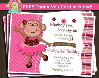 Monkey Birthday Invitation / Monkey Invitation / Monkey Birthday / Monkey Party Invite / 1st Birthday Invitation