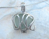 Sterling Silver  Sea Glass Save the Elephants Necklace Pale Aqua Summer Style Beach Boho by Wave of Life™
