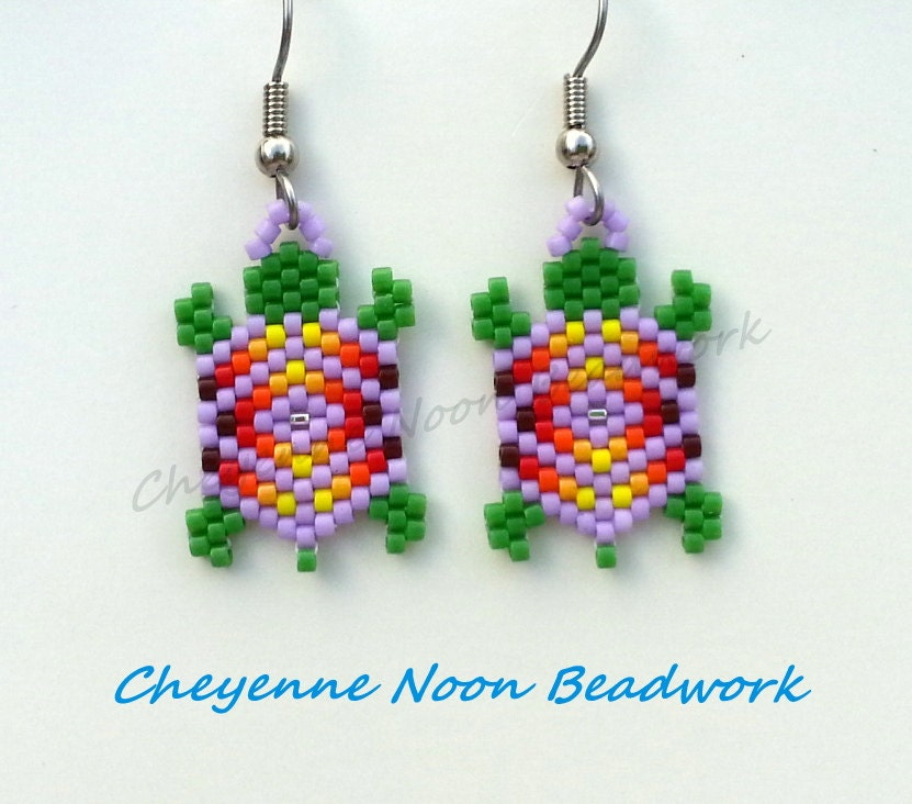 Native American Beaded Earrings Brick Stitch Turtles