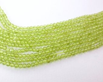 """Peridot. Shiny Apple Green. Green, Natural, SMooTH Round Beads. Chartreuse Gem balls. Seed Beads. Full Strand 14.5"""" 2.75 mm (PE170)"""