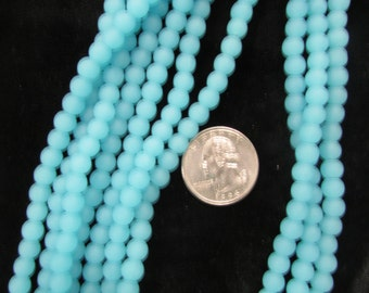 Simulated Sea Glass 6mm Rounds Opaque Turquoise