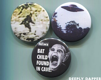 Cryptids Button Collection - UFOs BatBoy and Sasquatch - Patterson Bigfoot