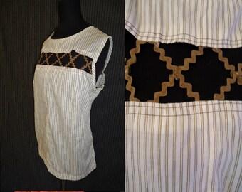 Peekaboo Brown & White Striped Vintage 1950's Rockabilly Womens Summer Shirt Top M L