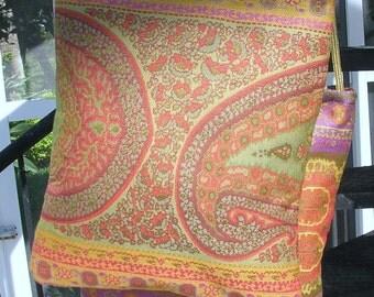 Cross Body Bag, Anichini fabric, Rust, Orange, Gold, Green