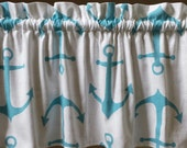 1 white turquoise blue green anchor beach sailor Nautical beach valances curtains