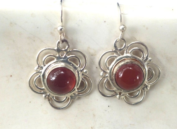 Carnelian and Sterling Silver Flower Drop Earrings