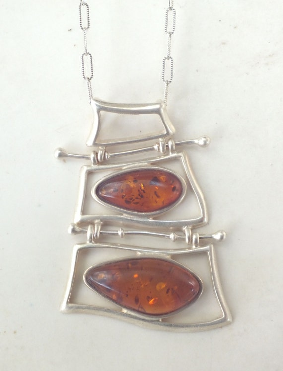 Amber and Sterling Silver Ladder Necklace