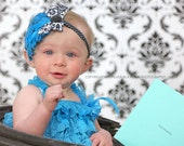 Turquoise & Black Layered Curly Feather Headpiece...Headband...Newborn, Infant, Toddler, Girls, Adult Sizes