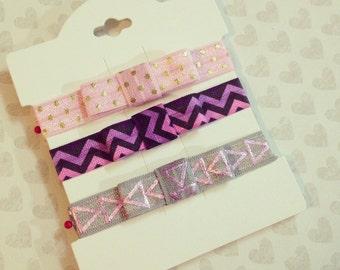Girl Bow Headband Set {Newborn Baby Toddler Girl Adult} FOE Elastic + No Crease Hair Tie + Headwrap + Pink Dot + Purple Chevron + Gray Arrow