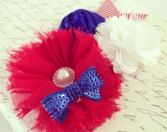 Flower Trio Headband {Newborn Baby Toddler Gir Adult} Handmade + Boutique + Custom Color Combo + Flower Shabby Chic + July 4th Fourth + USA