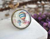 Hot air balloon ring - brass ring, vintage style jewelry, resin jewelry, gift for her for girl, turquoise, boho, red, blue - ready to ship
