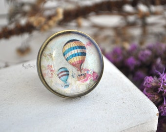 Hot air balloon ring - brass ring, vintage style jewelry, resin jewelry, steampunk hot air balloon, colorful brass ring- ready to ship