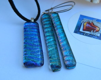 Blue Green Shimmer dichroic fused glass pendant and earrings set