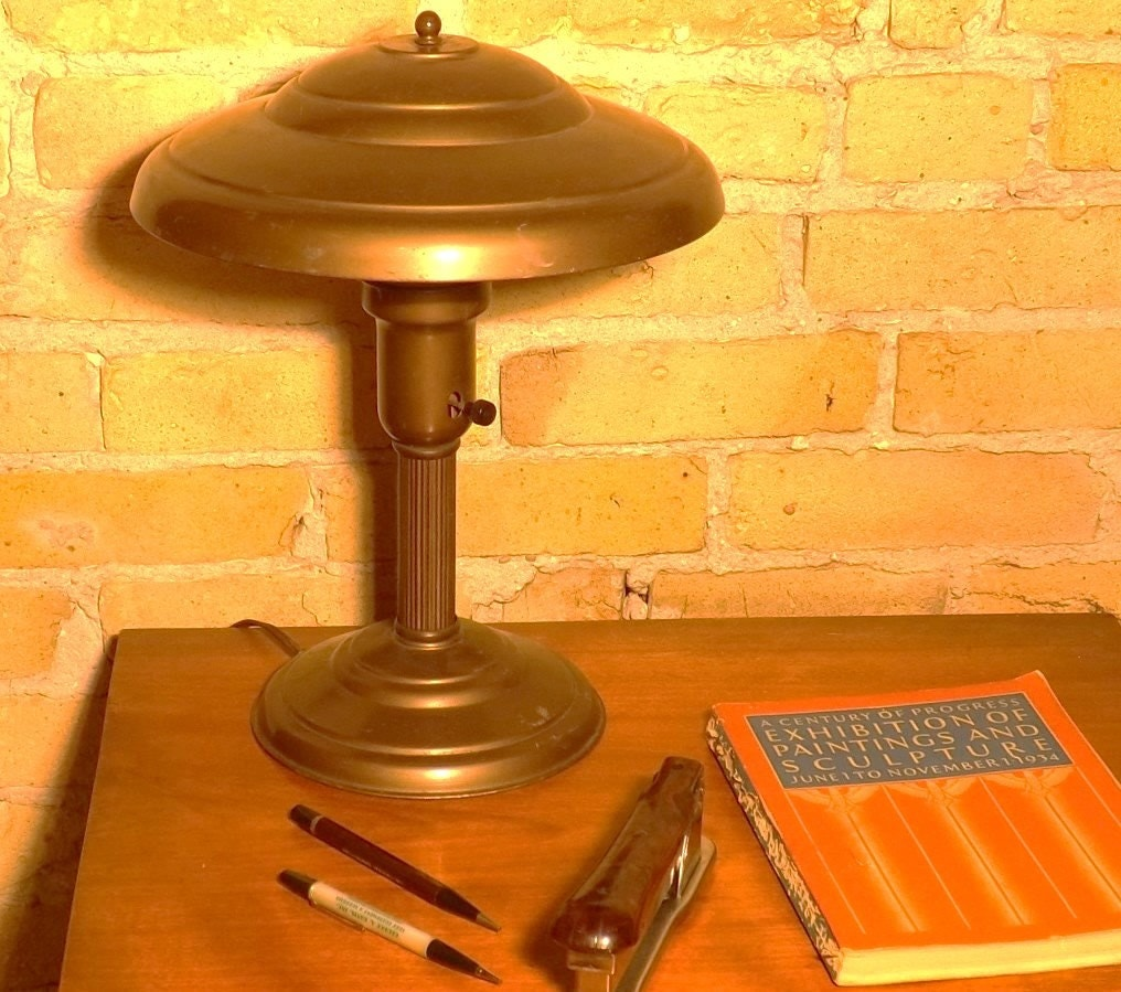 vintage desk lamp metal shade task light mid century. Black Bedroom Furniture Sets. Home Design Ideas