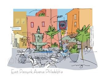 Philadelphia E Passyunk Fountain fine art print 2 sizes