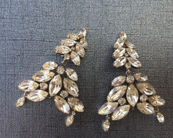 Bridal Vintage Chandelier Rhinestone Clip On Earrings