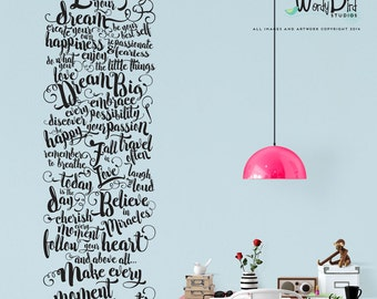 Office decor, Live your dream wall decal, hand lettered typographic decal, gold decal, inspirational quote, make every moment count