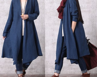 Casual Loose Fitting Long Sleeved Cotton and Linen Long Open Blouse - Trench Coat  Outerwear - Women Top(SY013)  M
