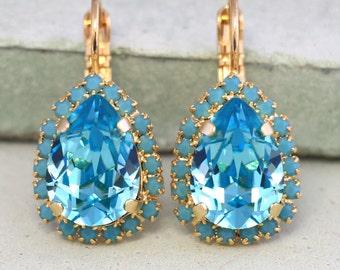 Swarovski Aquamarine Earrings,Aquamarine Drop Earrings,Dangle Earrings,Bridesmaids Earrings,Light Blue Drop Earrings,Gift for her