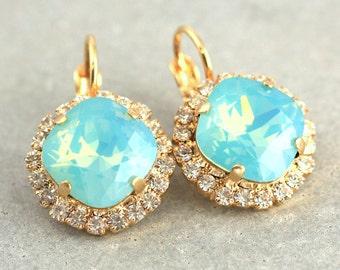 Mint Crystal Earrings,Mint Drop Earrings,Turquoise Dangle Earrings,Mint Opal Earrings,Christmas Gift,Gift for her,Bridesmaids Earrings