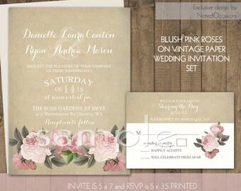 Rustic Wedding Invitation Suite - Blush Pink and Cream Roses Country Invitation Set Vintage Typography Romantic Paper Digital Printable DIY