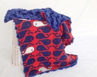 Whale Travel Blanket - Boy Travel Blankie - Lovey Blanket - Security Blankie - Newborn Blanket - Nautical Lovey - Newborn Lovey - Snuggle
