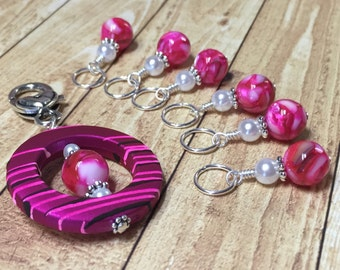 Snag Free Pink Stitch Markers with Matching Clip Holder- Knitting Gifts- Tools for Knitters