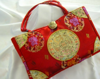 RED CHINESE SILK Purse