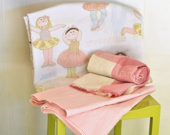 Vintage Children's Bedroom Set Collection  Double Full Flat Sheet Dance Ballet Pink Pastel w/ Pink Gingham Valance Set & Small Blanket Throw
