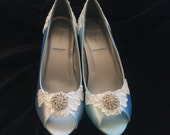 MIKA - Beautiful Blue Lace & Crystal Wedge Heel Bridal Wedding Shoes, Peep Toe Bridal Shoes, Peep Toe Wedge, Open Toe Lace Bridal Shoes