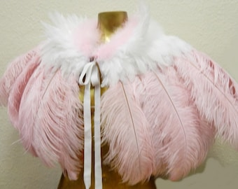 Pink Ostrich Feather Cape Victorian Capelette ready to Ship!