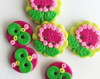 NEW Summer Flowers Handmade Polymer Clay Button set  ( 6 )