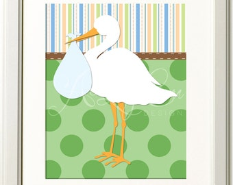 Stork Baby Delivery Illustration 8x10 Print