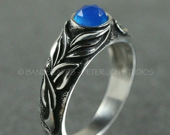 Silver GRACEFUL LEAVES RING,  Made to Order.  Shown with Chalcedony