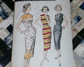 "1950s Vintage Advance Pattern 8553, Misses Sleeveless Sheath Wiggle Dress Size 12, Bust 32"", Waist 25"""