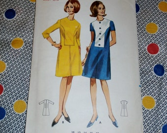 "1960s Vintage Butterick Pattern 4293 for a Misses' A Line Dress Size 14, Bust 34"", Waist 26"", Hip 36"""
