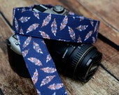 dSLR Camera Strap - Navy Blue Feathers - Feather Camera Strap - Valentine's Day Gift Ideas