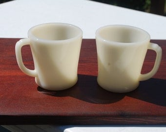 Vintage Fire King Oven Ware ivory colored D handled coffee cups